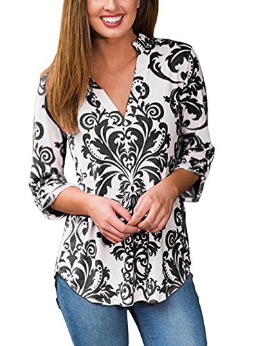 Women's V-Neck Tops 3/4 Cuffed Sleeve Retro Floral Printing Casual Long Loose Blouse (S, Type 3)