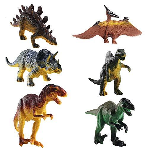 FOGAWA 6Pz Set di Dinosauri Giocattolo per Bambini Mini Dinosauri di Jurassic World Dinosaur Toys Educativo di Stegosauro Giocattolo Include Tirannosauro Rex Trex Jurassic Triceratopo Ottimo Regalo