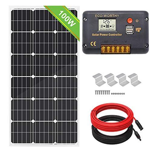Kit de paneles solares monocristalinos de 100 W 12 V de la marca Everorthy + controlador de carga de 20 A para sistema de batería de 12 V