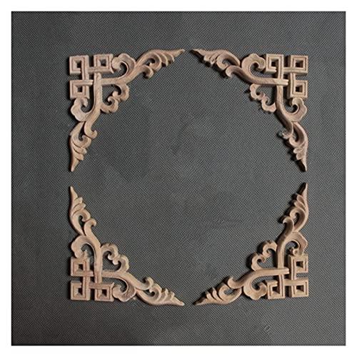 WULE-RYP Moldeo con molduras de Madera Decorativo para Muebles para el hogar, Madera Maciza Aplique Incrustaciones de Muebles sin Pintar Cama de Madera Larga Tallado (Pack : 6PCS, Size : 10 * 10CM)