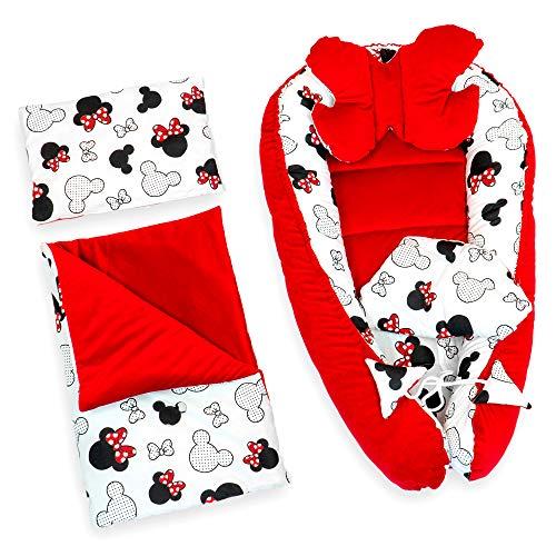 Babynestchen Set Neugeborene 90x50 cm - Kuschelnest Baby Nestchen Bett Set 5-teilig Kokon Baumwolle - Velvet Rot