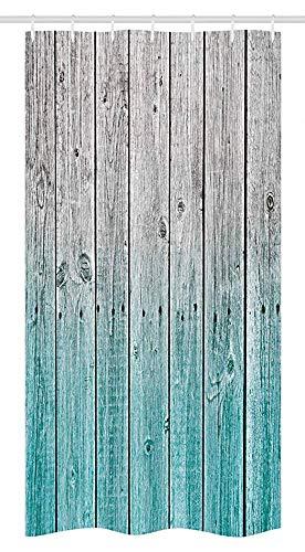 Cortina De Ducha De Cabina Rústica, Fondo De Paneles con Tonos Digitales, Imagen De Arte De Casa De Campo, Juego De Baño con Ganchos, Gris Azulado 122X183CM