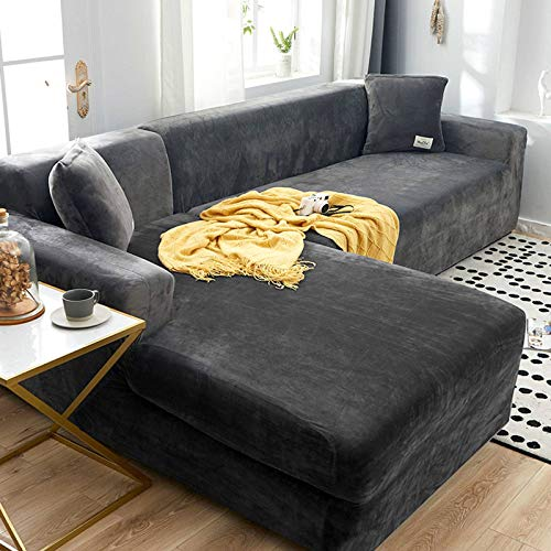 HKPLDE Velvet Sofa Cover Corner Sofa Cover Stylish Soft Durable Furniture Protector Couch Cover For 4 Cushion-3 seater+4 seater-gray