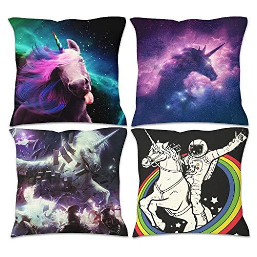CCMugshop - Funda de cojín cuadrada para sofá, diseño de unicornio, estrellas, galaxia, unicornio, impresión de algodón, lino, blanco, 45 x 45 cm