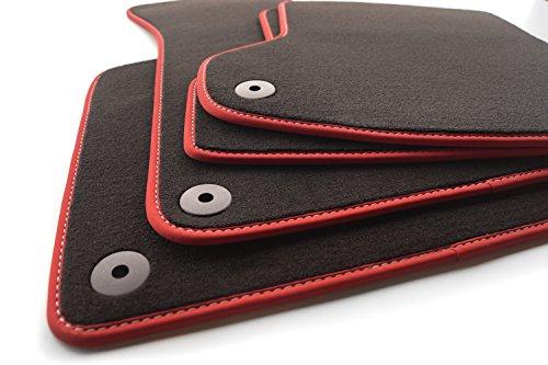 Fußmatten (Velours) Roter Rand mit weißer Sports Tuning Naht, Automatten Set, inkl. Befestigungssystem