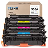 TEINO Remanufactured Toner Cartridge Replacement for HP 305A 305X CE410X CE410A use with Laserjet Pro 300 Color MFP M375nw Pro 400 Color MFP M475dw M451dn M475dn (Black Cyan Magenta Yellow, 4-Pack)