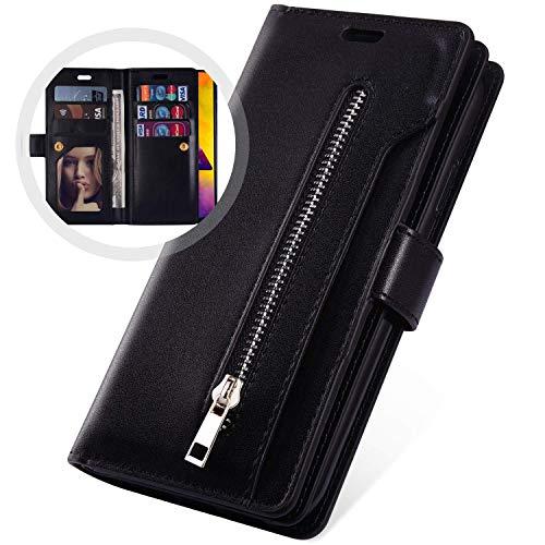 Uposao Kompatibel mit Samsung Galaxy A21 Hülle Leder Flip Schutzhülle Multifunktional Reißverschluss 9 Kartenfächer Handyhülle Brieftasche Wallet Case Handytasche Magnetisch,Schwarz