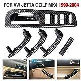 Espear Interior Door Grab Handle Cover + Window Switch Panel Bezel Carbon Fiber Pattern for VW Jetta Golf MK4 1999-2004 Car Panel Accessories