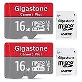 Gigastone Lot de 2 Carte memoire Micro SD HC 16 Go U1 C10 avec 2 adaptateurs SD Inclus. Vitesse de Lecture allant jusqu'à 85 Mo/s. Haute Vitesse vidéo Full HD Nintendo Dashcam GoPro Caméra Android