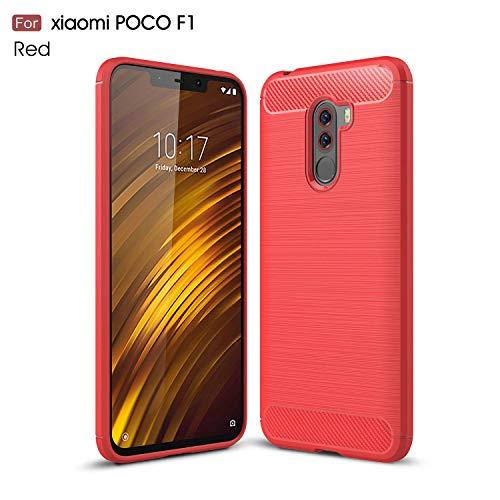 Ycloud Resilient TPU Funda para Xiaomi Pocophone F1 Delgado Silicona Case Shock-Absorción Fibra de Carbon Back Cover Rojo Carcasa para Xiaomi Pocophone F1