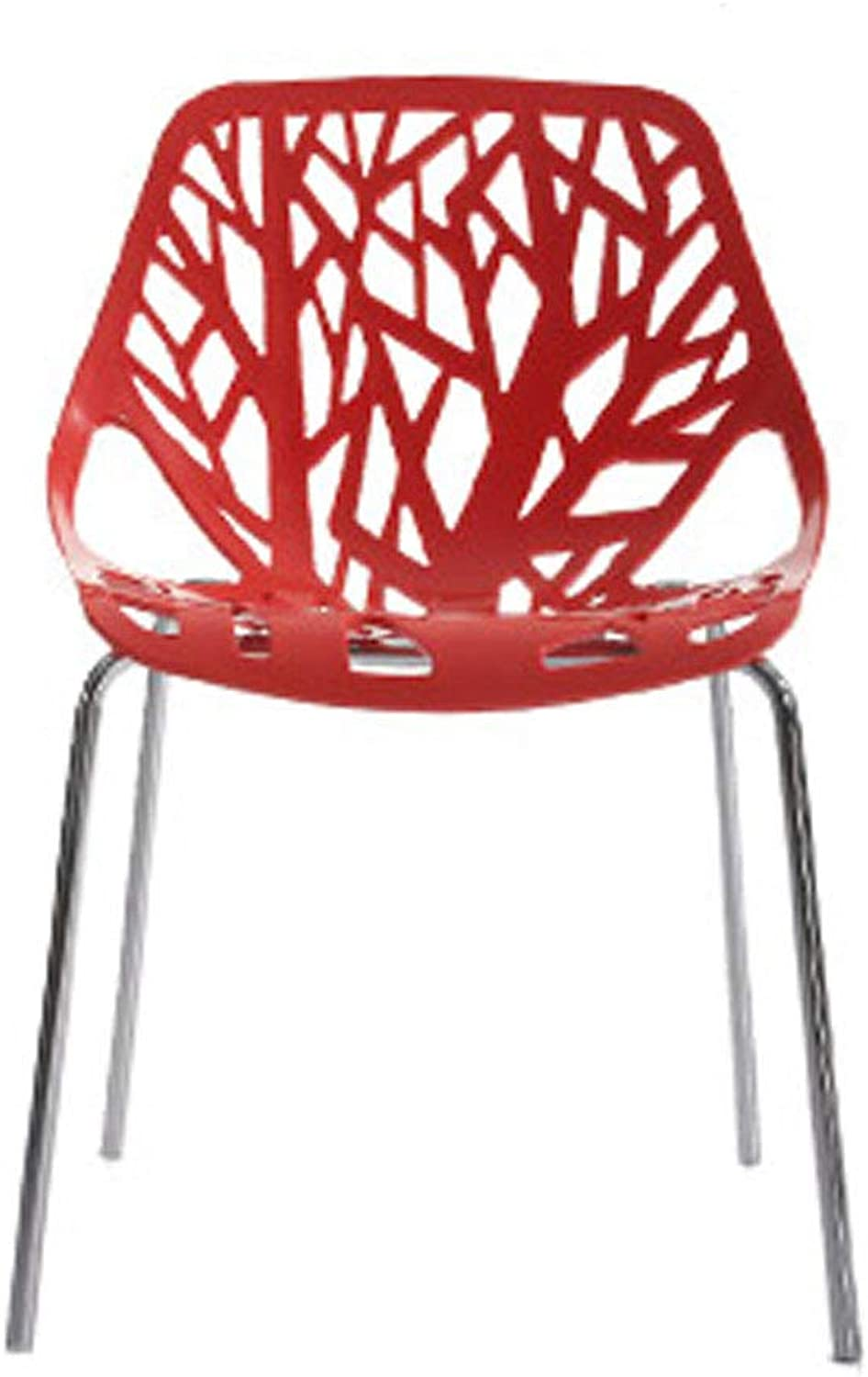 LRZS-Furniture Modern Minimalist Dining Chair European Hotel Dining Room Chair Home Wrought Iron Plastic Dining Chair Back Chair (color   RED)
