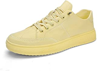 Shangruiqi Fashion Athletic Sport Sneakers for Men Flat Skateboarding Shoes Lace up Synthetic Leather Outdoor Walking Anti-Wear (Color : Yellow, Size : 8.5 UK)