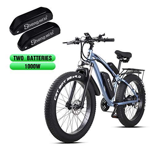 Shengmilo elektrische mountainbike 26 inch dikke band 48V 1000W motorsneeuw elektrische fiets Shimano 21 versnellingen elektrische fiets Trapondersteuning, lithiumbatterij hydraulische schijfrem (MX02S)