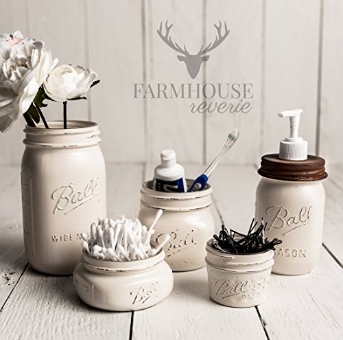 Antique White Rustic Mason Jar Bathroom Set | White Bathroom Storage Set | Farmhouse Bathroom Decor | Rustic Bathroom Decor | Vintage Decor | Rustic Kitchen Decor | Farmhouse Kitchen Decor
