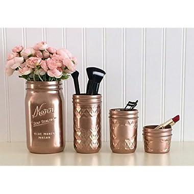Mason Jar Makeup Organizer, 4-Piece Set, Rose Gold