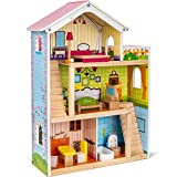 cossy Wooden Doll House with 12 Pieces of Furniture, 3 Levels Dollhouse with 4 Rooms and Accessories