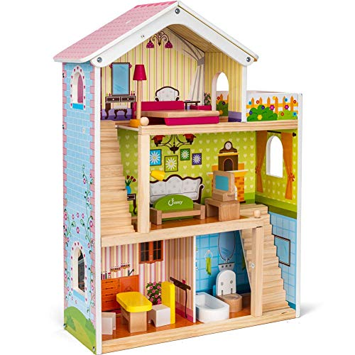 cossy Wooden Doll House with 12 Pieces of Furniture, 3 Levels House with 4 Rooms and Accessories