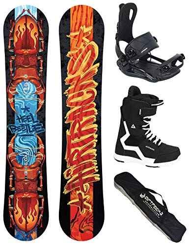 Airtracks Snowboard Set/Board Hell Beetle Wide Hybrid Rocker 162 + Snowboard Bindung Master + Boots Strong 43 + Sb Bag