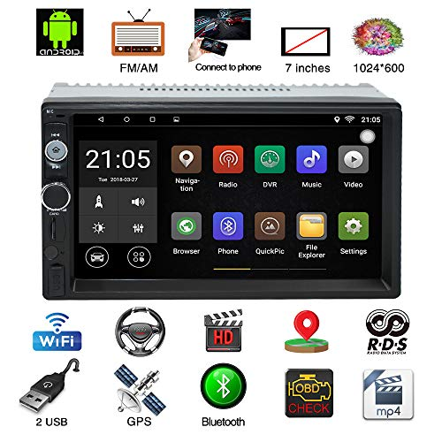 Dvd-speler dubbele DIN autoradio met navigatie, 7 inch 2 din radio Andoid / 32 GB GPS/Mirrorlinks/RDS Radio/Tuner/Bluetooth/USB/handsfree installatie/TF/FM/AM/AUX/ondersteuning stuurwielcontroller 1080P