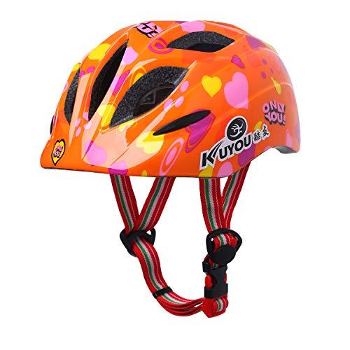 Alvivi Kinderfahrradhelm Sicherer Fahrradhelm Kinder-Helm rollerhelm Mädchen Jungen Schutzhelm für Mountainbike Inliner Skaterhelm BMX Scooter Orange Einheitsgröße