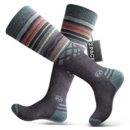 Ski Socks 2-Pack Merino Wool, Non-Slip Cuff for Men & Women - Gray,L/XL