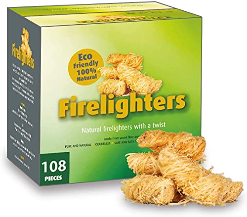 100% Natural Fire Starter, 108 Count Wood Firelighter, Wood Wool Fuel for Fireplace, Campfire, Wood Stove, Fire Pit, Charcoal Grill, BBQ Smoker