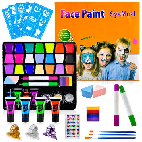 Face Paint Kits Professional with 21 Colors,4 UV Paint,3 Brushes,30 Stencils,2 Glitters & Sponges,2 Paint Crayons,1 Split Cake,1 Rhinestone Sticker Non Toxic Washable Body & Face Paint for Kids Adult