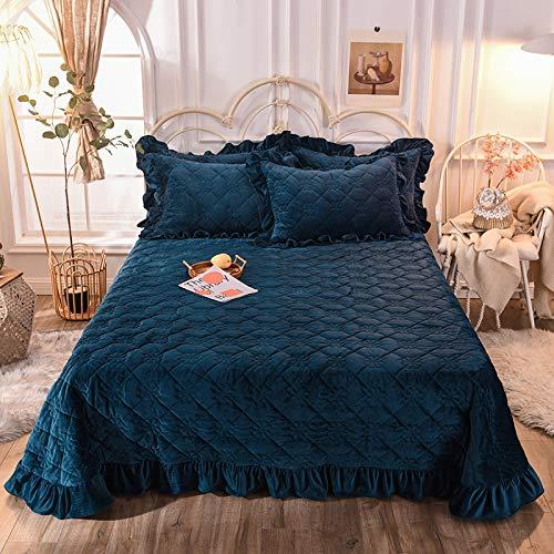 Xiaomizi Funda de cama de algodón para cama de invierno cálida de cristal gruesa acolchada de encaje multifuncional