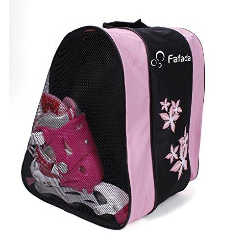 VENTCY Skischuhtasche Schlittschuhetasche Helmtasche Eislauf Rollschuhetasche Kinder Skifahren Nylon Komft Stiefeltasche mit Rucksackfunktion Wasserabweisend (Rosa)