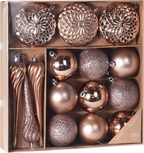 made2trade 15 teiliges Weihnachtsbaumschmuck Set - Kupfer
