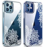 SPEVERT Case Compatible with iPhone 12 Case,Case for iPhone 12 Pro Case 6.1 inches, Flower Pattern Printed Clear Design Transparent Hard Back Case with TPU Bumpe Cover - Lace