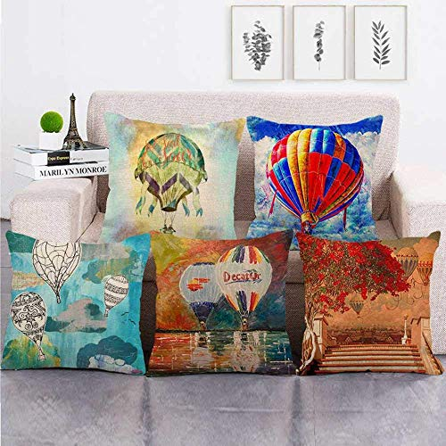 Yellow Painting Pillowcase, cushions for bed,Cushion Covers 5 Pieces Linen Throw Pillow Covers Case Square For Sofa Home Decorative Livingroom Bed Office Car Waist (Without Core) 18x18inch hot air bal