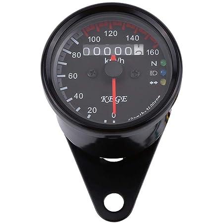 Keenso Motorrad Tachometer Universal 12v Led Motorrad 0 160km H Kilometerzähler Mit Led Kontrollleuchte Schwarz Auto