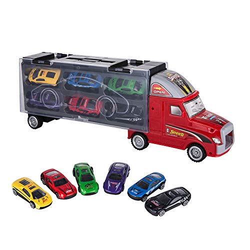 ASTOTSELL Transport Carrier Truck Toy, Car Transporter con 12 Mini Metal Metal Cars per Ragazzi e Ragazze (Rosso)
