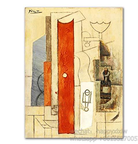 Geige und Gitarre Plakate und Drucke Cafe Bar Wandkunst Leinwand Modulare Malerei Picasso Kubismus Wandbilder für die Inneneinrichtung 30x42cm ohne Rahmen