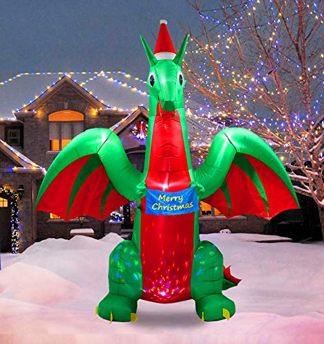 PARAYOYO 9Ft Christmas Inflatable Dragon Decoration with Xmas Gift Wish Colorful Flash for Home Yard Lawn Outdoor Indoor
