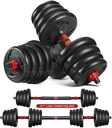 ETEREAUTY Dumbbells Set 2 in 1 Barbell Weight Set Solid Adjustable Weight Dumbbells up to 66LBS with Connecting Rod Anti Slip Weight Dumbbell Set for Men Women Strength Training Workout Gym