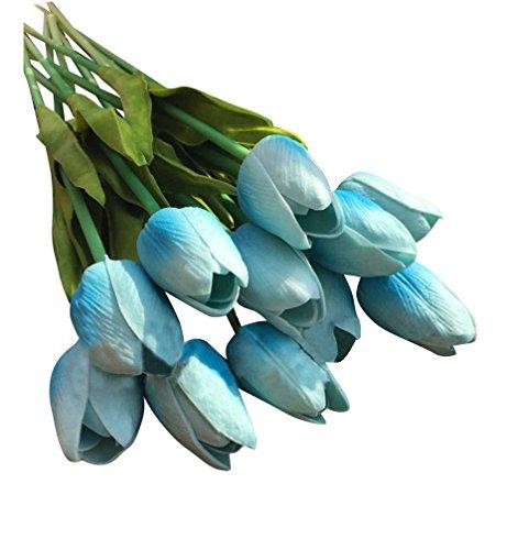 10 Piezas Tulipán Flores Artificiales simulación flor Tacto Verdadero para Boda Ceremonias Navidad Hogar Decoración ding Azul