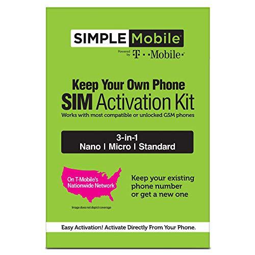 ($25 eGift Card Promotion) Simple Mobile Keep Your Own Phone 3-in-1 Prepaid SIM Kit, Black