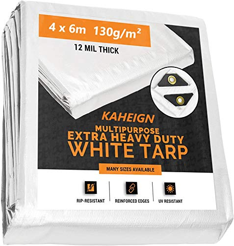 KAHEIGN 4m x 6m Tarpaulin Cover, 130g/m² Heavy Duty Waterproof Tarp Cover...