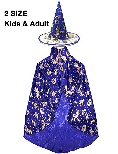 Halloween Witch Costumes Hat Wizard Cloak Cape for Boys Girls Womens Pumpkin Role Play Costume Blue