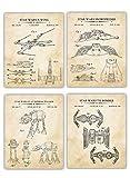 Vintage Star Wars Patent Wall Art Prints - Set of 4 - (8x10) UNFRAMED Design from Original Blueprint Drawing - Photo Decor Gift Great for Son, Boyfriend, Kids, Husband.