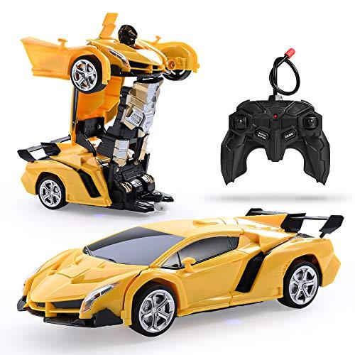 Colmanda Ferngesteuertes Verformungssportwagen Modellauto RC Auto Rennauto Spielzeug Fahrzeug für Kinder, 360° Transformator Roboter Automodell One-Key, Verformung Fernbedienung Auto-Gelb