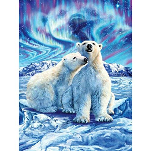 Ssckll Home Decor Diamond Embroidery Snow Bear Animal Painting Full Round Drill Cross Moon Cute Stitch Picture Handmade Gift Wall Art Mosaic Painting 40x50cm