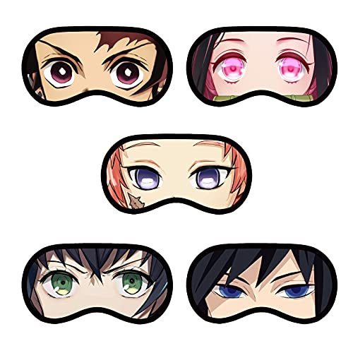 5 Pack Demon Slayer Eye Mask for Anime Fans Party Decorations Eye Mask for Sleeping with Adjustable Strap, Comfortable and Soft Night Blindfold for Girls Boys Fans