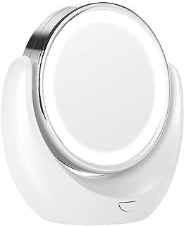Salmue Specchio per Trucco bifacciale,con Luci LED 5X Specchio per Trucco da Tavolo in Acciaio Inox, Specchio per Il Viso ...