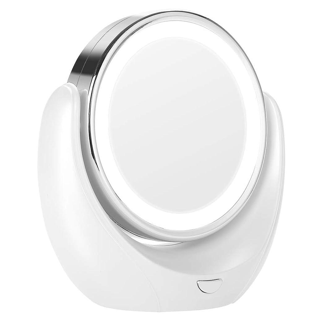 牧師レインコート亡命LED HD 5X拡大鏡360度回転可能なダブルミラー化粧化粧鏡