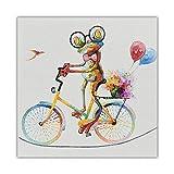 tzxdbh Póster de Arte de Pared Rana Feliz Animal de Dibujos Animados con Gafas Pintura al óleo Lienzo decoración de la Sala de Estar Moderna Regalo para el hogar-40x40cm_Unframed_Print_Canvas_Only