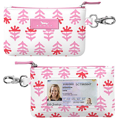 SCOUT IDKase Card Holder, Small Card and ID Case for Women, Mini Keychain Wallet with Zipper Closure (Multiple Patterns Available)