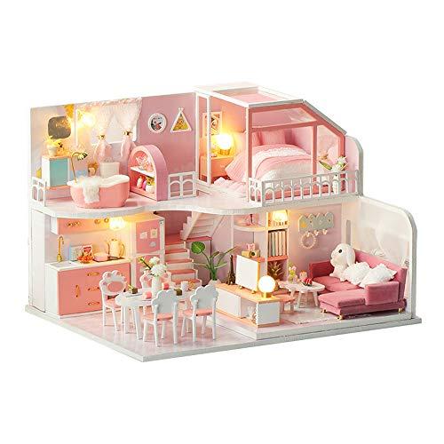 Flytise Kit maison de poupée bricolage en bois bricolage Kit maison de poupée miniature jouet cadeau avec lumière LED cadeau d'anniversaire de Noël